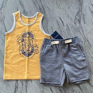 Boys Lucky Brand Sleeves Tank Top & Cotton Shorts